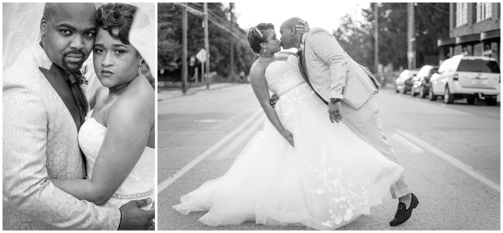 Black and white bride and groom portraits in the street.