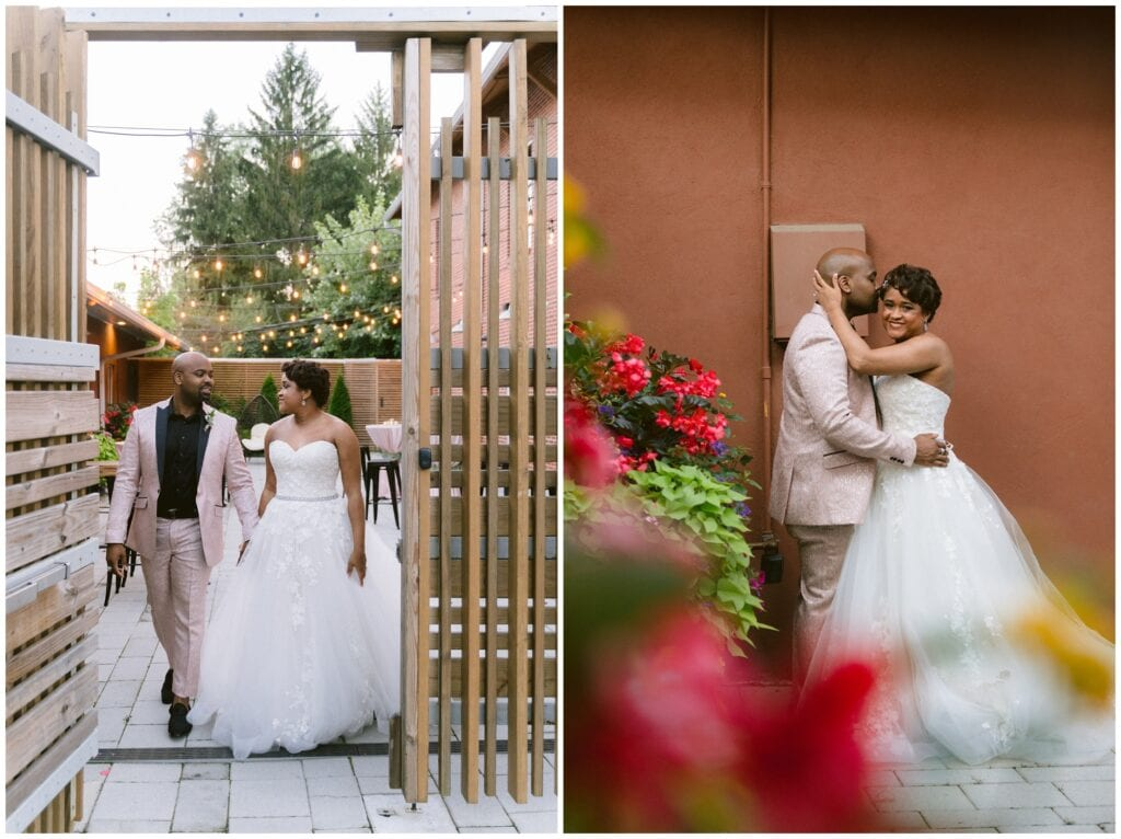 Bride and groom portraits on the patio of Ambrose West in the spring.