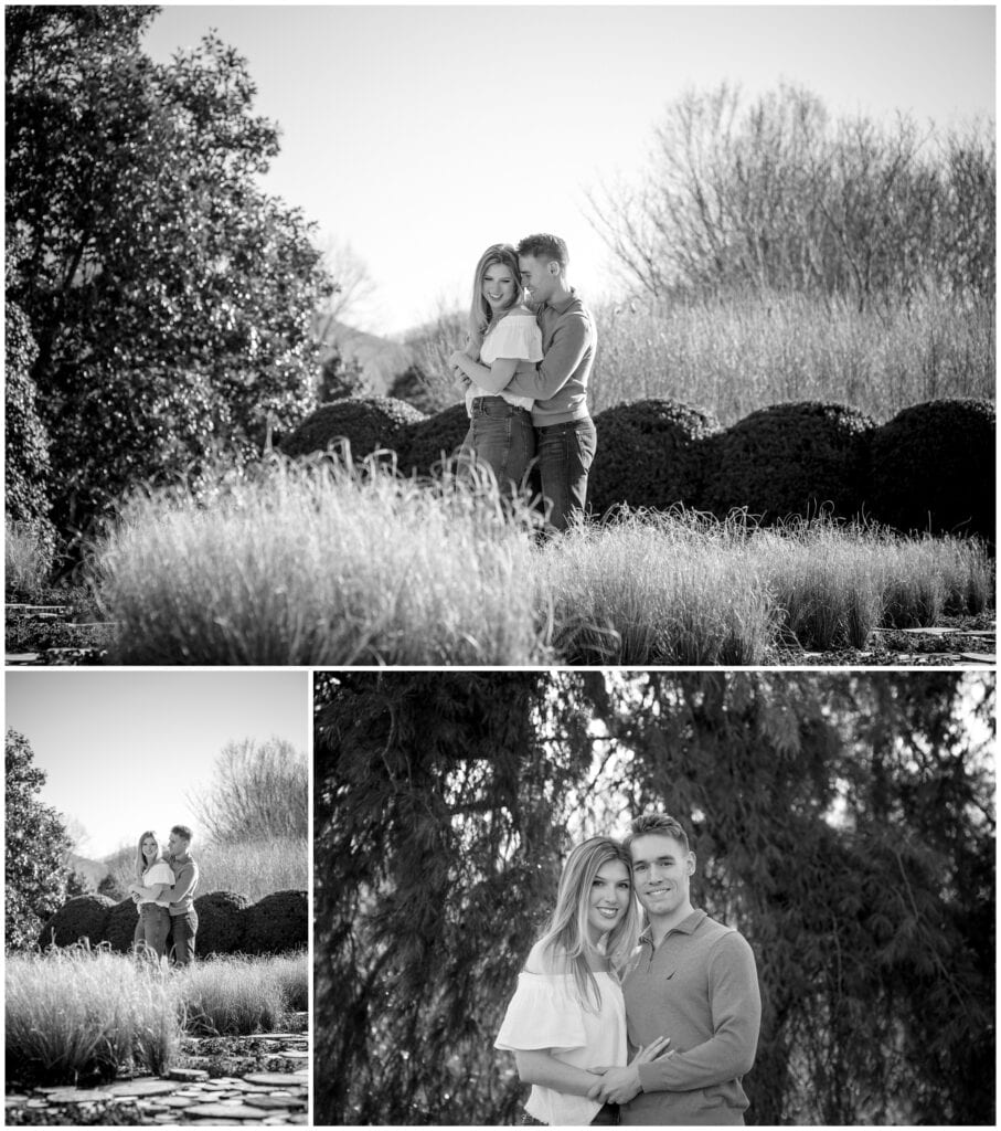 Black and white trio of photos of Eric and Fallon hugging in the gardens at the NC Arboretum.