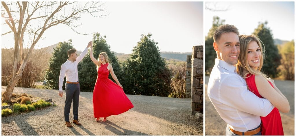 The couple changed into formal attire with a long red dress twirling.