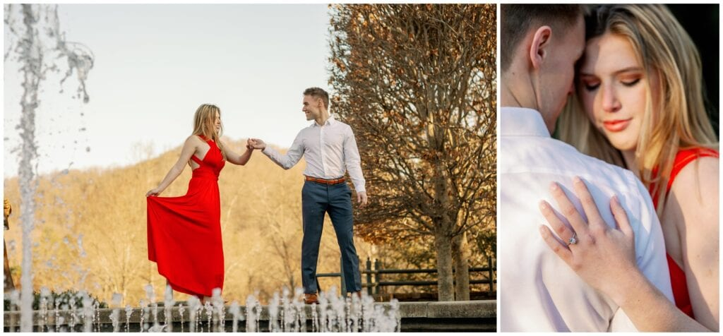Image of the engagement ring hand on his shoulder, along with them walking along the edge of a fountain.