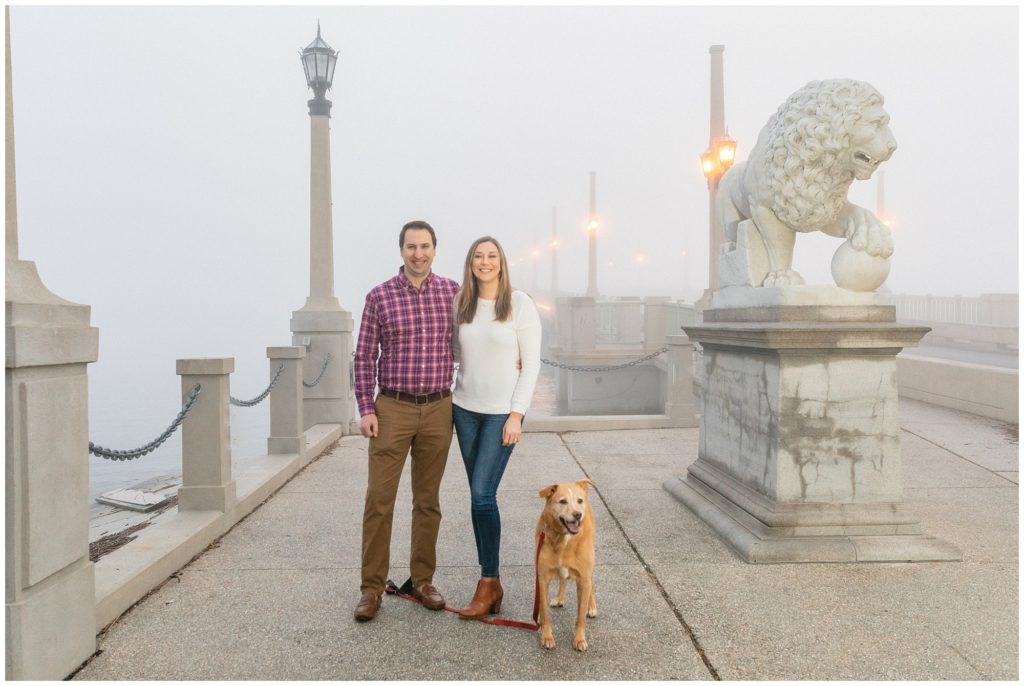 St Augustine foggy engagement session in December with a dog.
