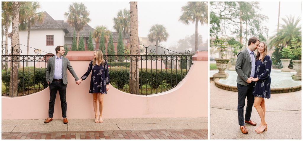 St Augustine Florida engagement photos with a pink wall.