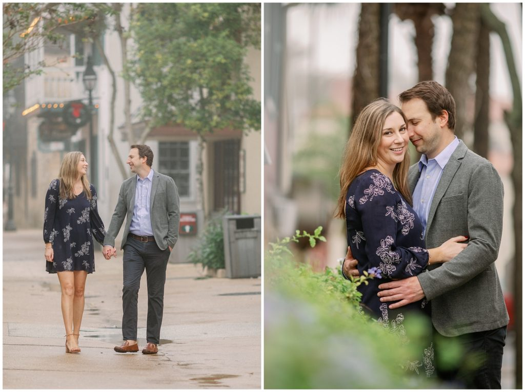 Foggy December engagement photos in downtown St Augustine Florida.