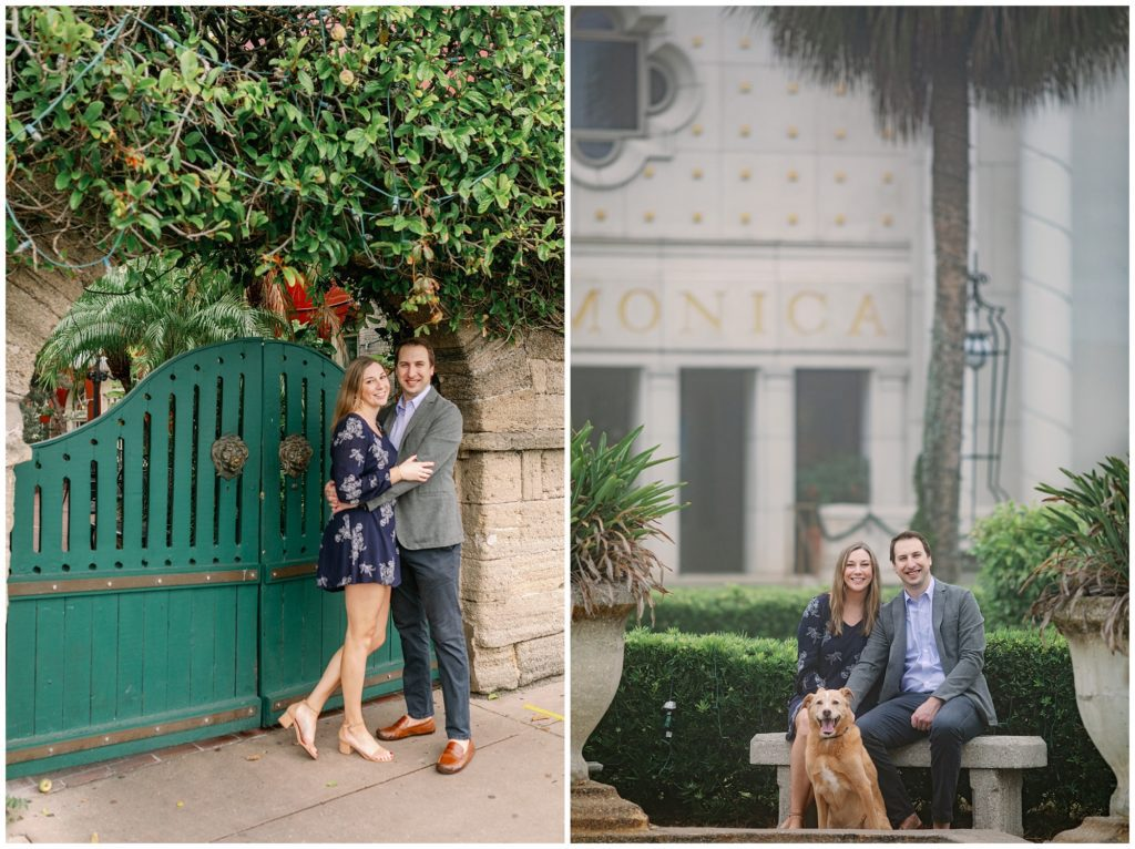 Foggy downtown engagement photos.