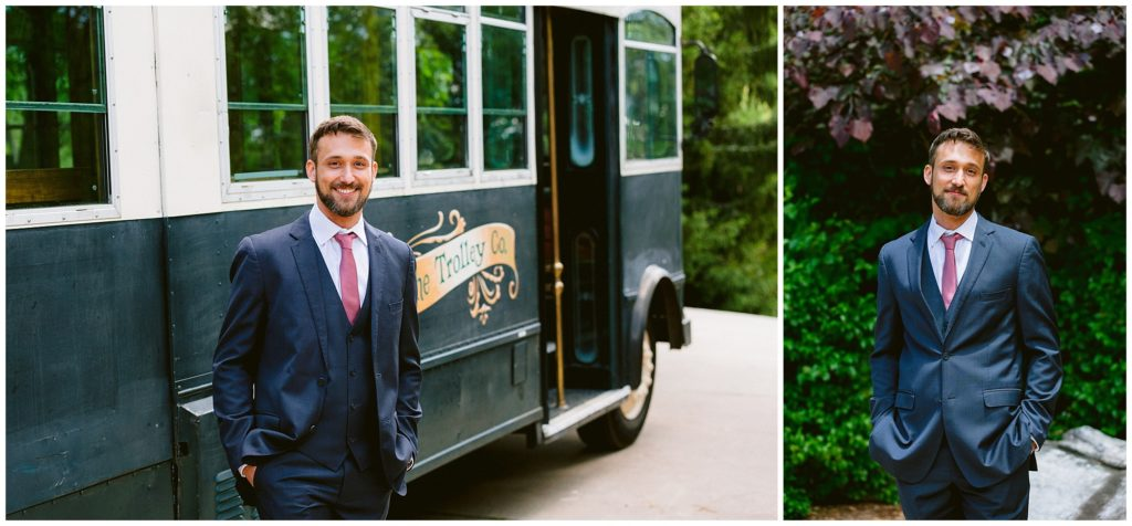 Groom on his wedding day with The Trolley Co.