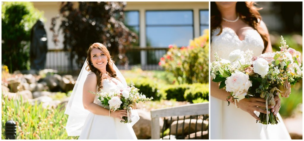 Bridal portrait on her wedding day with a pink and white bridal bouquet.