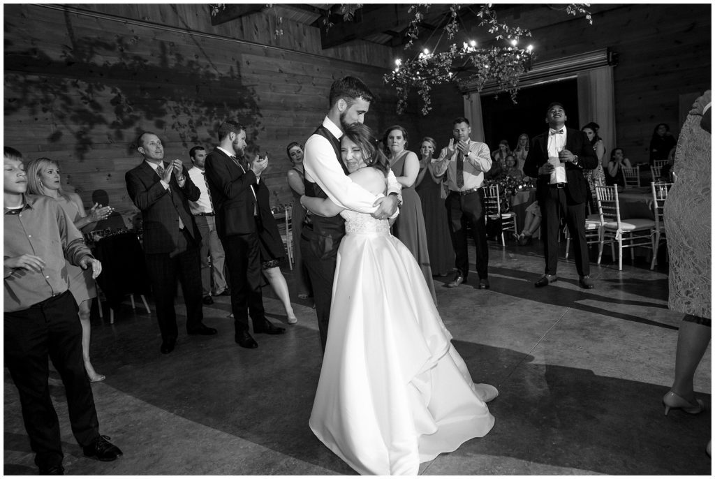 The bride and groom dancing together at their reception at Honeysuckle Hill.