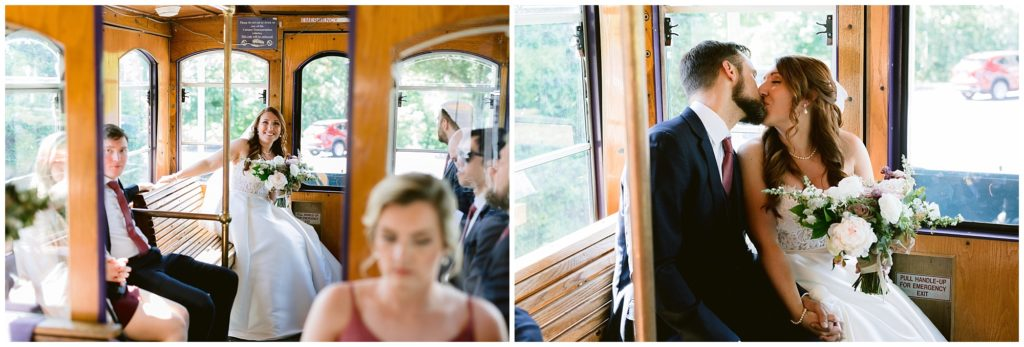 The bride and groom share a kiss on the trolley after their wedding ceremony, and on the way to their reception.